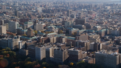 AX119_038.0000065F - Aerial stock photo of Columbia University in Autumn, Morningside Heights, New York City