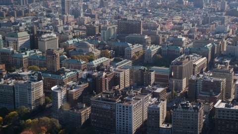 AX119_038.0000224F - Aerial stock photo of The Columbia University campus in Autumn, Morningside Heights, New York City