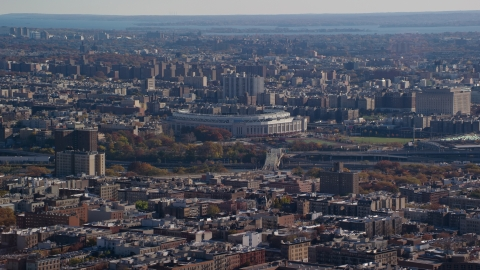 AX119_041.0000074F - Aerial stock photo of Yankee Baseball Stadium in Autumn, The Bronx, New York City
