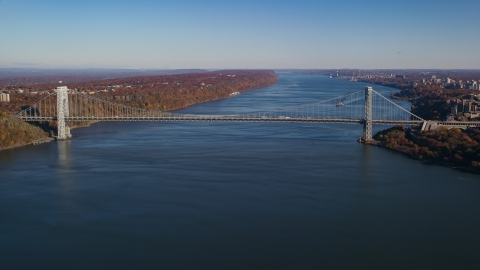 AX119_043.0000000F - Aerial stock photo of The George Washington Bridge in Autumn, New York City