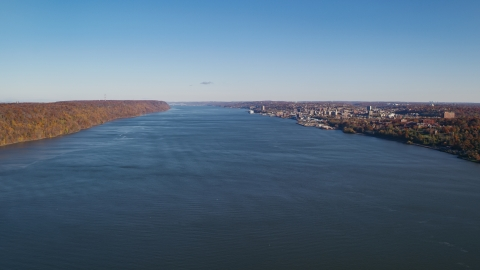 AX119_058.0000091F - Aerial stock photo of Yonkers on the east shore of the Hudson River in New York in Autumn