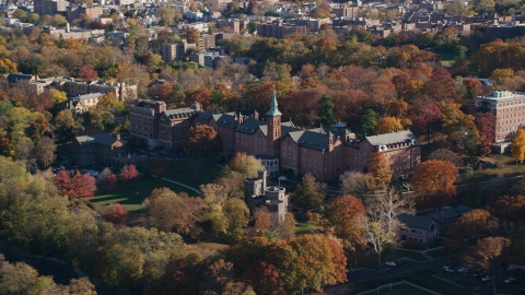 AX119_061.0000071F - Aerial stock photo of College of Mount Saint Vincent in Autumn, Yonkers, New York