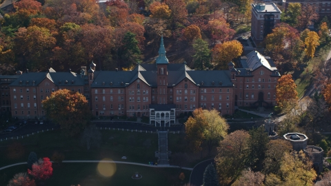 AX119_062.0000075F - Aerial stock photo of The College of Mount Saint Vincent in Autumn, Yonkers, New York