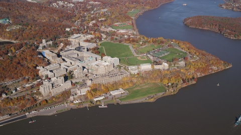 AX119_182.0000000F - Aerial stock photo of The campus of the West Point Military Academy in Autumn, West Point, New York