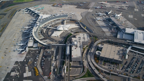 AX120_064.0000083F - Aerial stock photo of Terminals at JFK International Airport in New York City