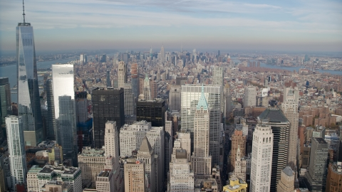 AX120_126.0000067F - Aerial stock photo of A view of Midtown from Lower Manhattan, New York City