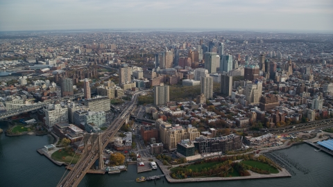 AX120_129.0000114F - Aerial stock photo of Downtown Brooklyn, New York City in Autumn