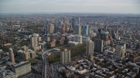 AX120_130.0000184F - Aerial stock photo of The downtown area of Brooklyn in Autumn, New York City