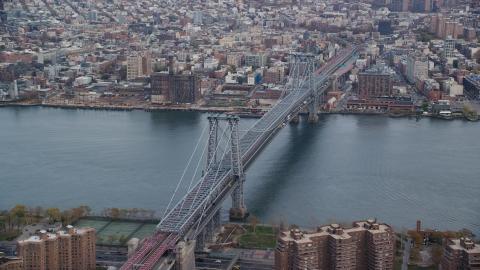 AX120_152.0000321F - Aerial stock photo of The Williamsburg Bridge in Autumn, New York City