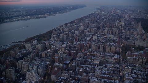 AX121_093.0000107F - Aerial stock photo of Apartment buildings on the Upper West Side at sunset in New York City