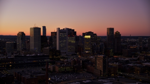 AX141_019.0000000 - Aerial stock photo of Skyscrapers in the Downtown Boston skyline, Massachusetts, twilight