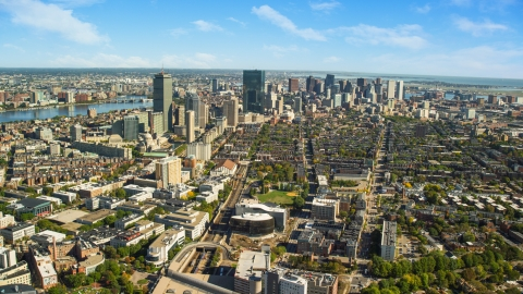 AX142_018.0000259 - Aerial stock photo of The Downtown Boston skyline on a sunny autumn day, Massachusetts