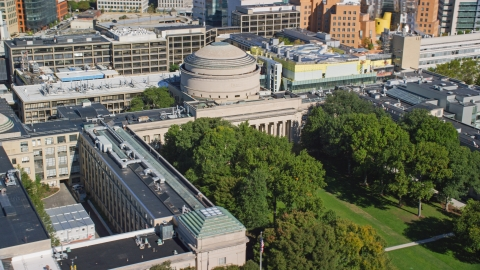 AX142_056.0000186 - Aerial stock photo of Maclaurin Building at the Massachusetts Institute of Technology in Cambridge, Massachusetts