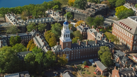 AX142_085.0000296 - Aerial stock photo of Harvard University's Lowell House in Cambridge, Massachusetts