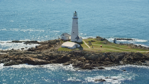 AX142_261.0000000 - Aerial stock photo of The Boston Light, located on Little Brewster Island, Boston Harbor, Massachusetts