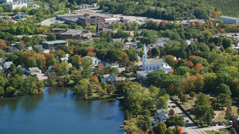 AX143_008.0000255 - Aerial stock photo of A small town with waterfront homes in autumn, Braintree, Massachusetts