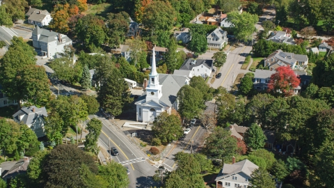 AX143_019.0000081 - Aerial stock photo of A small town church in autumn, Hingham, Massachusetts