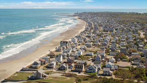 AX143_056.0000159 - Aerial stock photo of Oceanfront homes in a coastal town, Marshfield, Massachusetts
