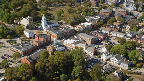 AX143_096.0000114 - Aerial stock photo of Churches and shops in the small town of Plymouth, Massachusetts
