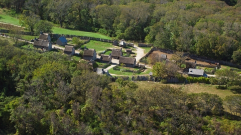 AX143_107.0000000 - Aerial stock photo of The Plimoth Plantation in Plymouth, Massachusetts