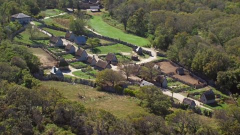 AX143_107.0000194 - Aerial stock photo of The Plimoth Plantation museum in Plymouth, Massachusetts