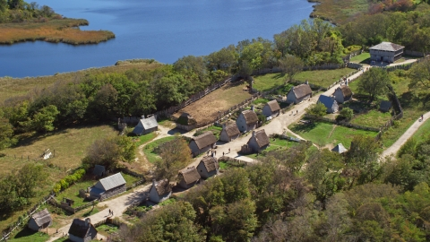AX143_108.0000260 - Aerial stock photo of A view of Plimoth Plantation in Plymouth, Massachusetts