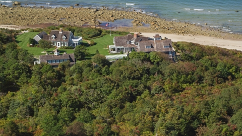 AX143_158.0000020 - Aerial stock photo of Upscale beachfront homes in Cape Cod, Dennis, Massachusetts