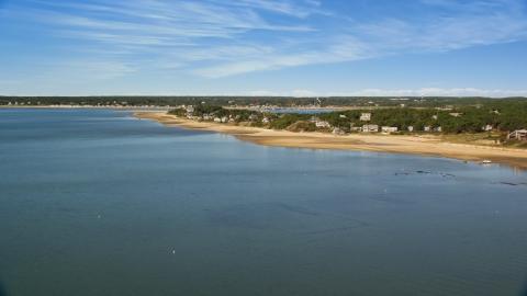 AX143_193.0000000 - Aerial stock photo of Chipman's Cove and beachfront homes, Wellfleet, Massachusetts