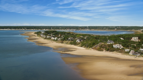AX143_193.0000238 - Aerial stock photo of Beachfront homes overlooking Chipman's Cove in Wellfleet, Massachusetts