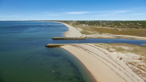 AX143_205.0000000 - Aerial stock photo of A beach beside an inlet, Cape Cod, Truro, Massachusetts