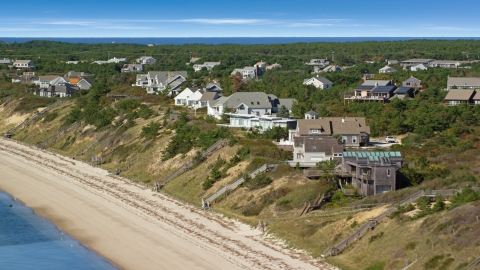 AX143_212.0000000 - Aerial stock photo of Homes with ocean views in Cape Cod, Truro, Massachusetts