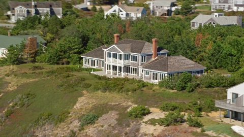 AX143_213.0000245 - Aerial stock photo of A beautiful home on Cape Cod, Truro, Massachusetts