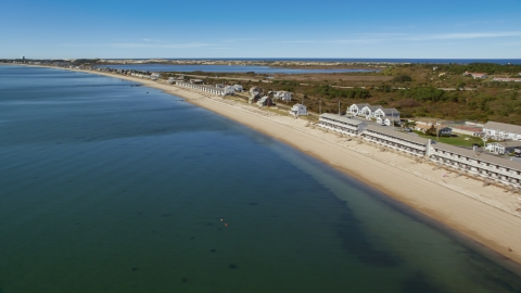 AX143_214.0000000 - Aerial stock photo of The Top Mast Resort and Days' Cottages, Cape Cod, Truro, Massachusetts
