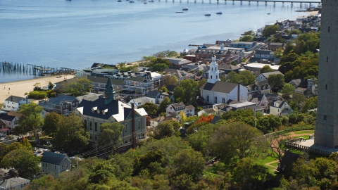AX143_229.0000000 - Aerial stock photo of The Provincetown Town Hall and the Unitarian Universalist Meeting House, Provincetown, Massachusetts