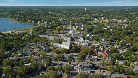 AX144_050.0000000 - Aerial stock photo of A small coastal town with churches, Cape Cod, Chatham, Massachusetts