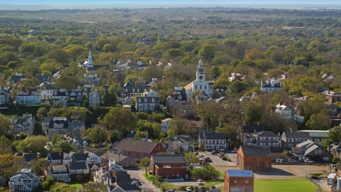 AX144_077.0000108 - Aerial stock photo of Unitarian Universalist Church in the coastal community of Nantucket, Massachusetts