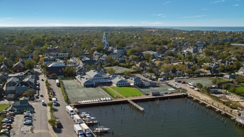 AX144_083.0000000 - Aerial stock photo of A small coastal town and church, Nantucket, Massachusetts