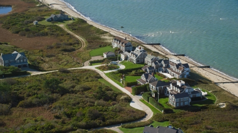 AX144_106.0000000 - Aerial stock photo of Beachfront upscale homes in Nantucket, Massachusetts