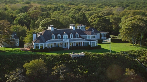 AX144_132.0000086 - Aerial stock photo of A spacious mansion in Edgartown, Martha's Vineyard, Massachusetts