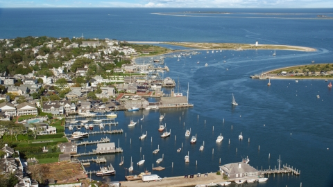 AX144_139.0000133 - Aerial stock photo of A small coastal town and piers, Edgartown, Martha's Vineyard, Massachusetts