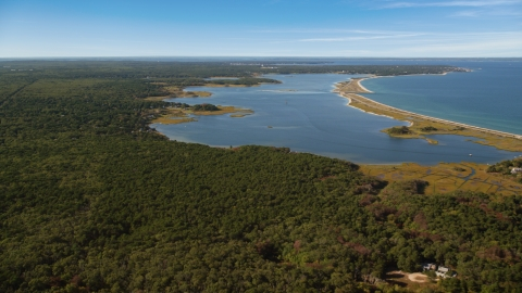AX144_146.0000000 - Aerial stock photo of Forest and Sengekontacket Pond, Edgartown, Martha's Vineyard, Massachusetts