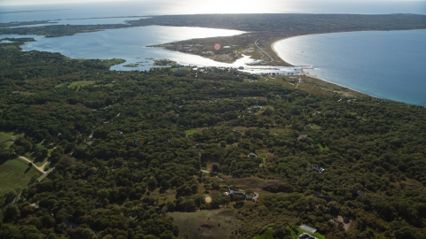 AX144_159.0000000 - Aerial stock photo of Menemsha Pond by the small community of Chilmark, Martha's Vineyard, Massachusetts