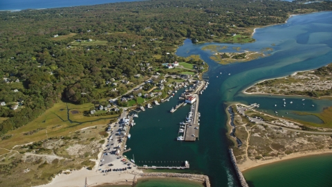 AX144_160.0000303 - Aerial stock photo of A coastal town by Menemsha Pond, Chilmark, Martha's Vineyard, Massachusetts