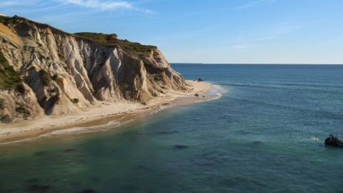 AX144_164.0000000 - Aerial stock photo of Coastal cliffs with a view of the ocean, Aquinnah, Martha's Vineyard, Massachusetts