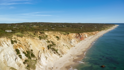 AX144_164.0000243 - Aerial stock photo of Coastal homes near steep cliffs, Aquinnah, Martha's Vineyard, Massachusetts