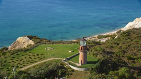 AX144_166.0000118 - Aerial stock photo of Gay Head Light in Aquinnah, Martha's Vineyard, Massachusetts