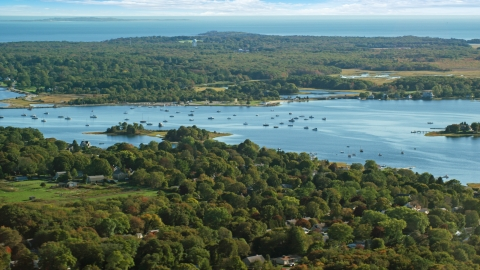 AX144_207.0000106 - Aerial stock photo of A view of boats in Apponagansett Bay, Dartmouth, Massachusetts