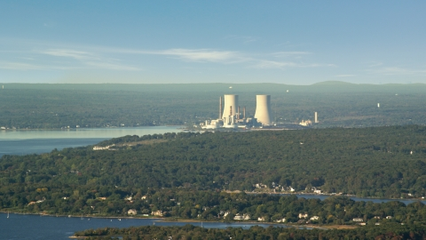 AX144_222.0000000 - Aerial stock photo of The Dynegy Brayton Point nuclear power plant, Somerset, Massachusetts