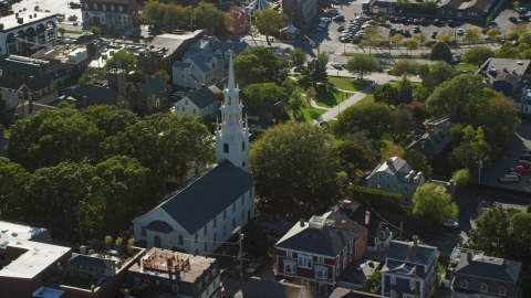 AX144_237.0000000 - Aerial stock photo of Trinity Church and a quiet neighborhood, Newport, Rhode Island