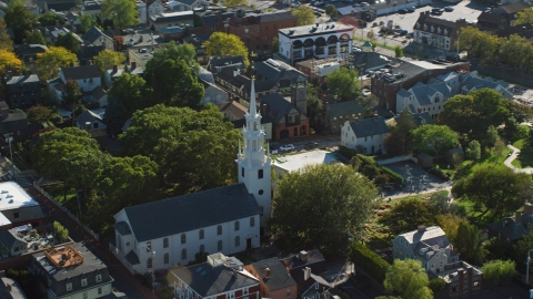 AX144_237.0000154 - Aerial stock photo of A view of Trinity Church in a quiet neighborhood, Newport, Rhode Island